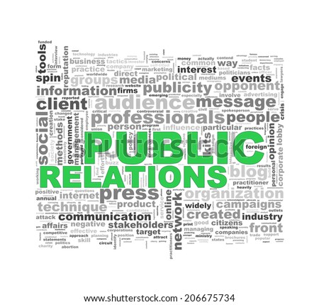 Illustration of wordcloud word tags of concept of public relations