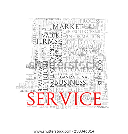 Illustration of wordcloud word tags of concept of service - stock photo