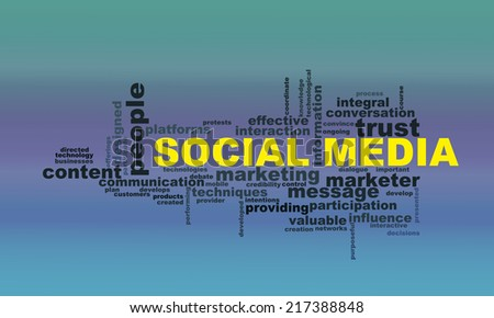 Illustration of wordcloud word tags of concept of social media - stock photo