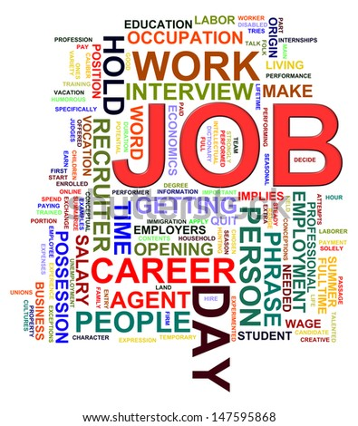 Illustration of wordcloud word tags of job - stock photo