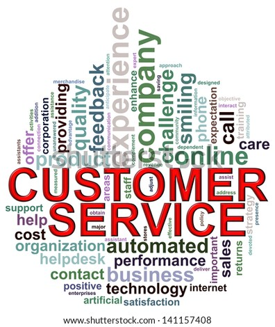 Illustration of wordcloud wordtags of customer service in circular shape - stock photo