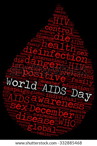 Illustration of World AIDS Day concept in modern word cloud. World AIDS Day was designated 1 December every year since 1988.
