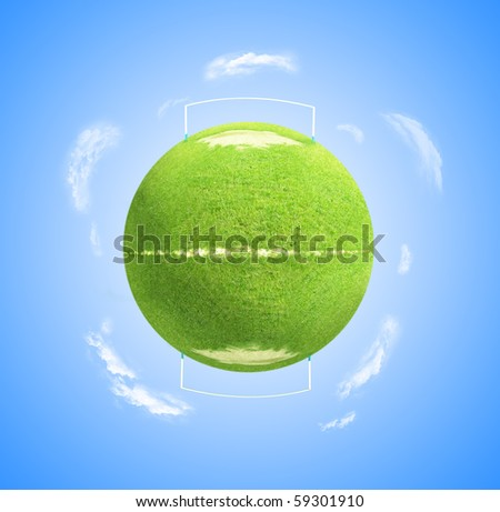 Illustration of World globe as green football or soccer pitch with clouds and blue sky background.