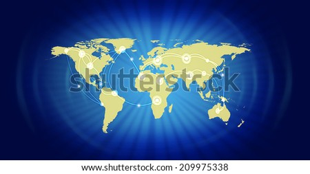 Illustration of world map representing global business against blue background.  - stock photo