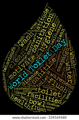 Illustration of World Toilet Day concept in modern word cloud art.
