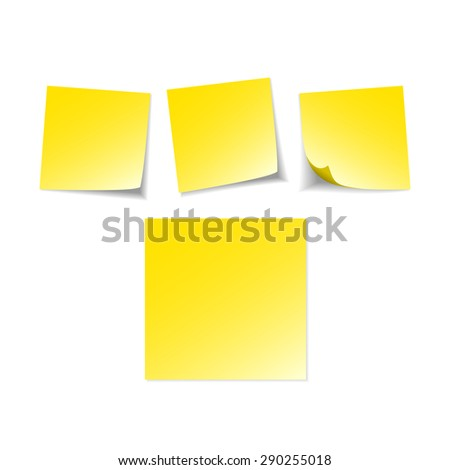 Illustration of yellow note sticker with message. Paper reminder - stock photo
