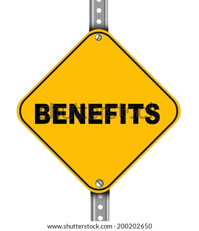 Illustration of yellow signpost road sign of benefits - stock photo