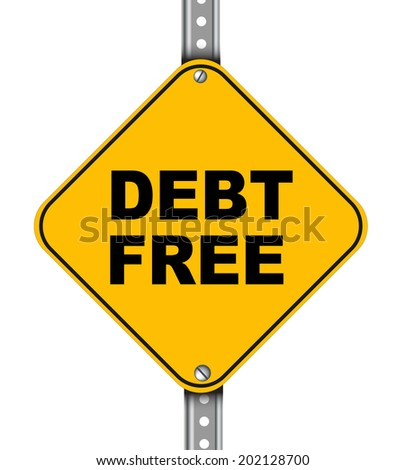 Illustration of yellow signpost road sign of debt free - stock photo