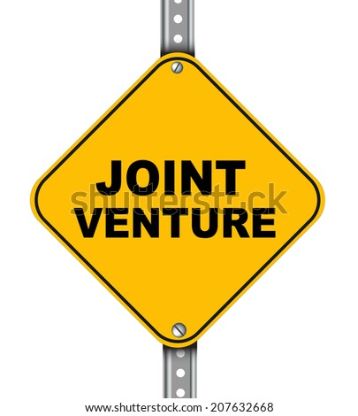 Illustration of yellow signpost road sign of joint venture - stock photo