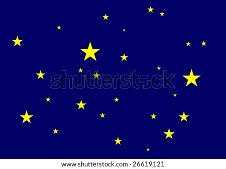 Illustration of yellow stars over dark sky background