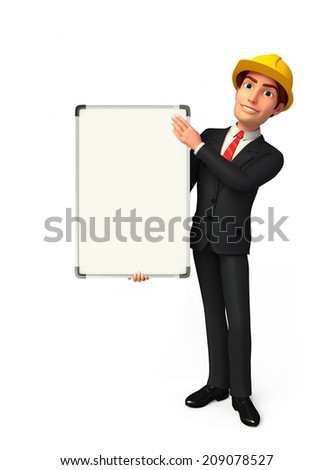 Illustration of Young Business Man with display board
