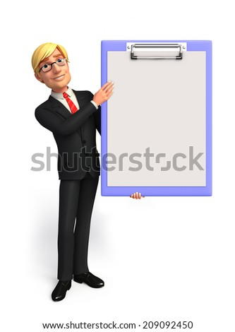 Illustration of Young Business Man with notepad