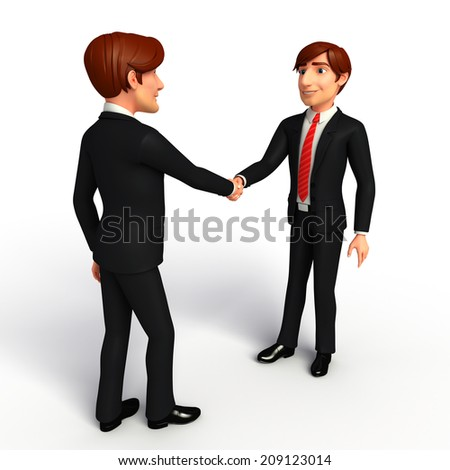Illustration of Young Business Man with shake hand