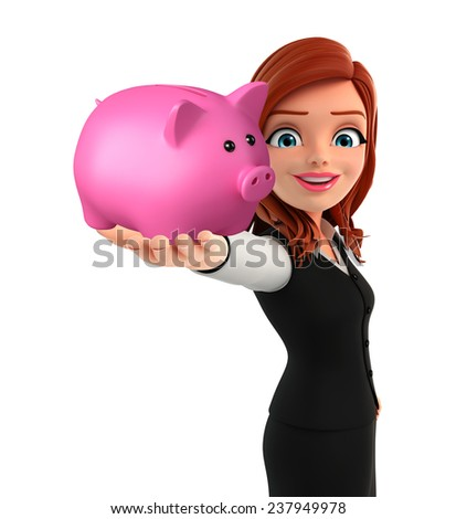 Illustration of young Business Woman with piggy bank - stock photo