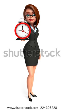 Illustration of Young Business Woman with table clock
