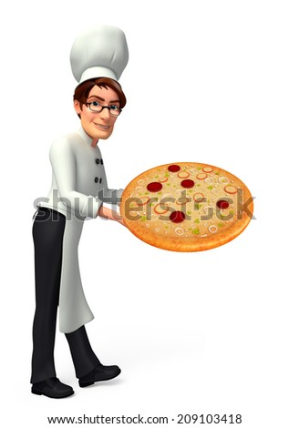 Illustration of young chef with pizza - stock photo