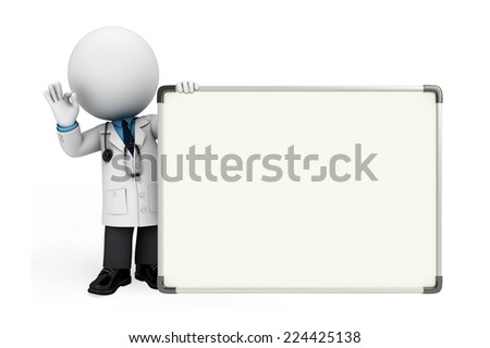 Illustration of young doctor with display board - stock photo