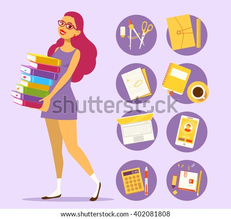 illustration of young girl in dress with pile of books on purple background with set of study icons. Art design for web, site, advertising, banner, poster, flyer, brochure, board, paper print. - stock photo