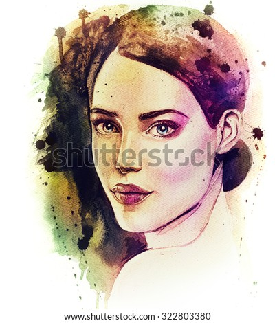 Illustration of young lady. Hand drawn woman's portrait. Pretty girl. Watercolor drawing of beautiful female face. - stock photo