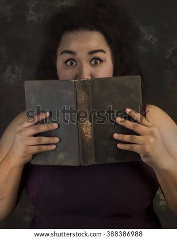 Illustration of young Latina woman in sleeveless dress holding vintage book close to her face looking fearful at camera with portrait background