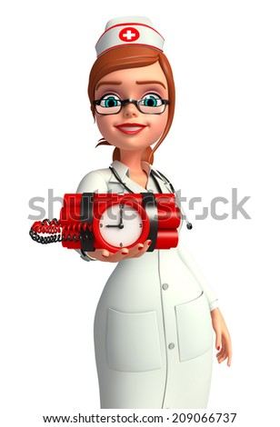 Illustration of Young Nurse with time bomb