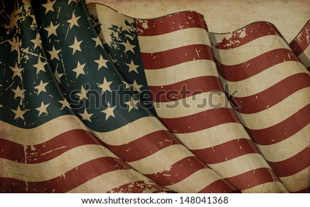 Illustration ofan aged, waving  US 48 star flag of the period 1912-1959 printed in old paper. This design was used by the US in both World Wars and the Korean war. - stock photo