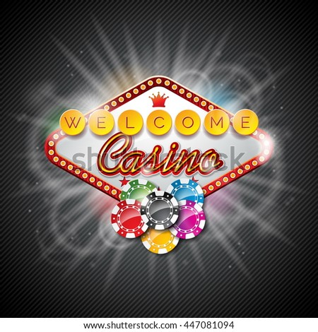 Illustration on a casino theme with color playing chips and lighting display on dark background. JPG version.