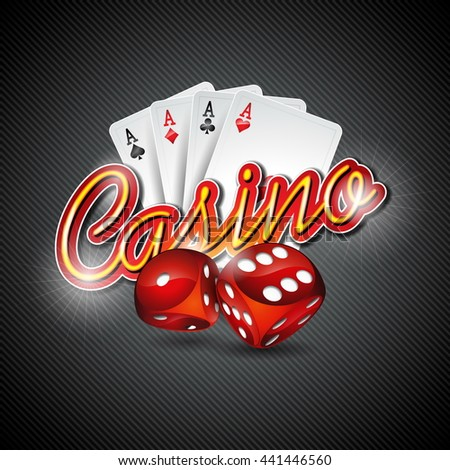 Illustration on a casino theme with dices and poker cards on dark background.