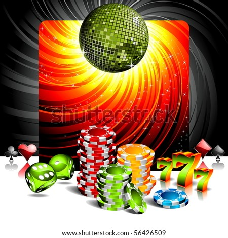illustration on a casino theme with disco ball and poker chips (JPG VERSION) - stock photo