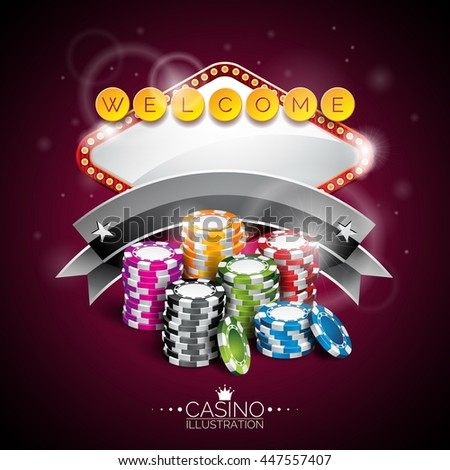Illustration on a casino theme with lighting display and playing chips on purple background. JPG version.