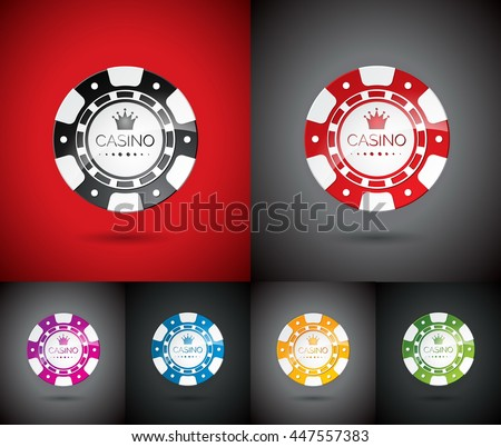 Illustration on a casino theme with playing chips set. JPG version.