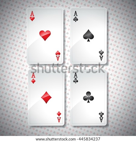 Illustration on a casino theme with playing poker cards. Poker aces set template. JPG version.