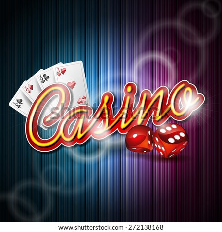 Illustration on a casino theme with poker card and dices on dark background. JPG version.  - stock photo