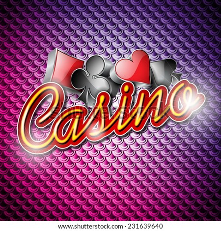 Illustration on a casino theme with poker symbols and shiny texts on abstract pattern background. JPG version.  - stock photo