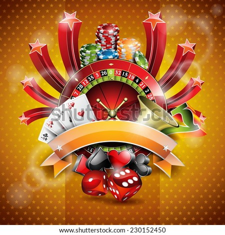 Illustration on a casino theme with roulette wheel and ribbon. JPG version. - stock photo