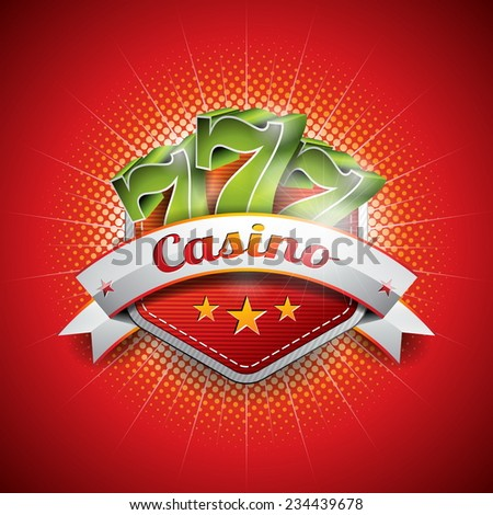 Illustration on a casino theme with seven symbols and ribbon on red background. JPG version.  - stock photo