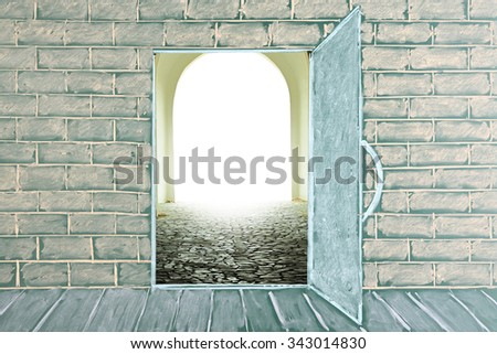 Illustration on a chalkboard of the open door in class - stock photo