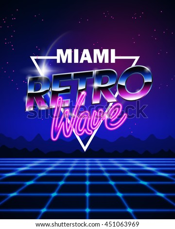Illustration on a theme miami retro wave background sticker