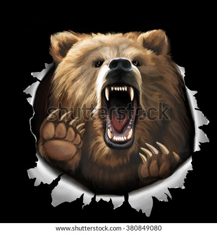 Illustration on black background. Furious brown bear roar and tear metal  - stock photo