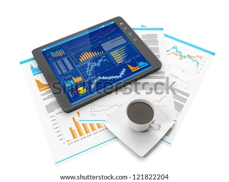 Illustration on the theme of business. Tablet PC biznres site, a coffee mug and business documents - stock photo
