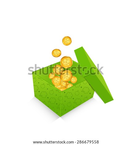 Illustration open cardboard box  with golden coins for St. Patrick's Day, isolated on white background - raster - stock photo