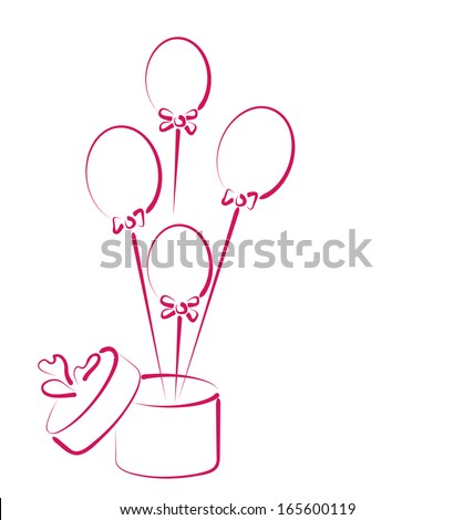 Illustration Open Gift Box With Balloons For Your Holiday
