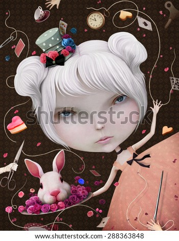 Illustration or postcard with Alice in Wonderland - stock photo