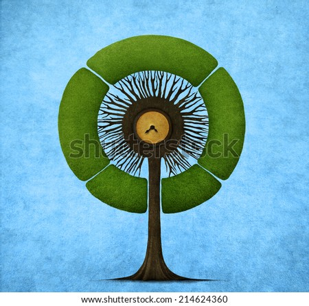 Illustration or postcard with round tree. Computer graphics. - stock photo