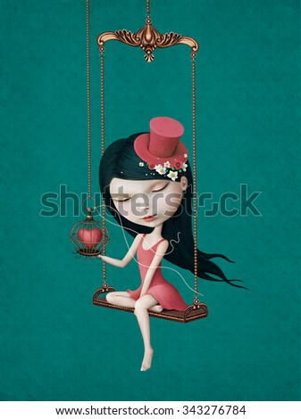 Illustration or poster with beautiful girl with heart in cage on swing.  - stock photo
