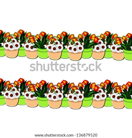 Illustration ornament. Bouquets of daisies and tulips in a bucket on a white background.