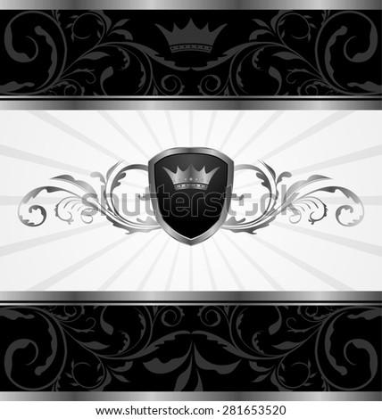 Illustration ornate dark decorative frame - raster - stock photo