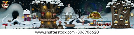 Illustration panorama with fabulous facilities winter holiday Christmas or New Year - stock photo