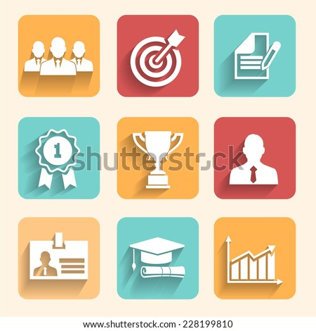 Illustration partnership and cooperation. Business icons - cooperation, victory, success, achieving goal and celebration - stock photo