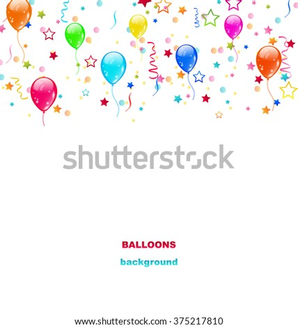 Illustration Party Colorful Balloons, Confetti for Happy Birthday - raster - stock photo